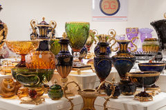Glass vases on display at HOMI, home international show in Milan, Italy Stock Photography