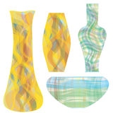 Glass vases in striped colorful design Royalty Free Stock Image