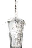 Glass vatten med tappad beeing för vatten Royaltyfri Fotografi
