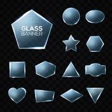 Glass vector plates set on transparent background. Stock Photos