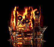 Glass vessels with vodka Royalty Free Stock Photos