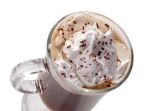 Glass of Viennese coffee top view close-up with whipped cream Stock Photography