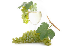Glass of vine and grape. On white background Royalty Free Stock Photo