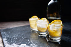Glass of vodka with lemon and ice Royalty Free Stock Photo
