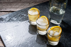 Glass of vodka with lemon and ice Royalty Free Stock Images