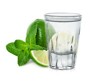 Glass of vodka with lime and mint Stock Image