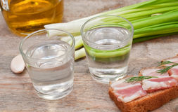 Glass of vodka, onions and bacon Royalty Free Stock Photography