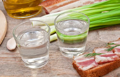 Glass of vodka, onions and bacon Royalty Free Stock Photo