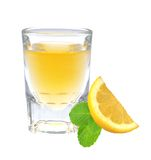 Glass of vodka with pepper, lemon slice and mint leaf Stock Photos