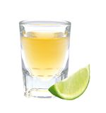 Glass of vodka with pepper and lime slice Stock Photography