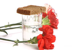 Glass of vodka and a red carnations on white background Stock Image