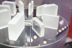 Glass wafer. Close-up of glass wafer. Exhibition sales in Shenzhen Convention and Exhibition center Stock Photos