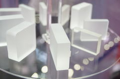 Glass wafer. Close-up of glass wafer. Exhibition sales in Shenzhen Convention and Exhibition center Stock Image