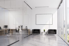 Glass waiting room with poster Royalty Free Stock Photography