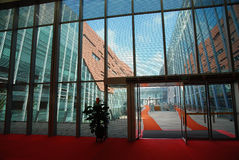 Glass wall. In the modern building Royalty Free Stock Image