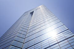 Glass wall background, futuristic architecture, office building facade Royalty Free Stock Photos