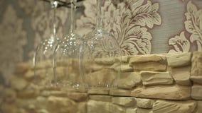 Glass on wall. Bar shot stock footage