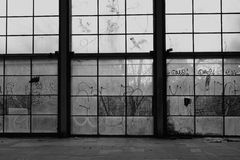 Glass wall broken windows Royalty Free Stock Image