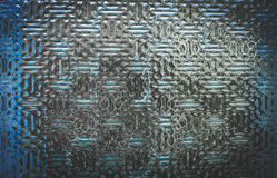 Glass wall. Embossed glass blue tint Stock Photos
