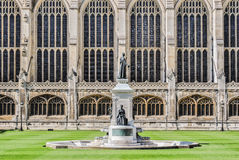 Glass wall facade. The lateral facade of King's College Chapel in Cambridge (UK Royalty Free Stock Photos