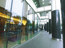 Glass wall and hallway. Outside restaurant Stock Image