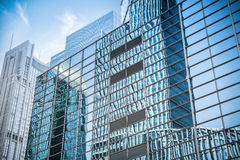 Glass wall in modern building skyscrapers Stock Image