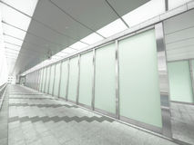 Glass wall and passageway. In airport Royalty Free Stock Photography