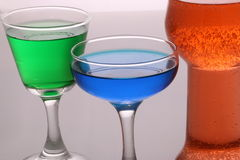 Glass ware Green Red and Blue Liquid 3 Royalty Free Stock Photography