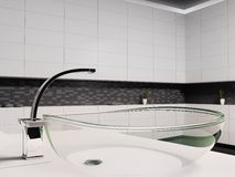 Glass washbasin 3d. Glass washbasin in black white bathroom 3d render Royalty Free Stock Photo