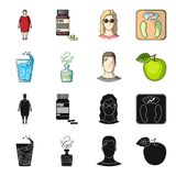 A glass of water, a bottle of alcohol, a sweating man, an apple. Diabeth set collection icons in black,cartoon style. Vector symbol stock illustration Stock Photography