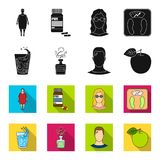 A glass of water, a bottle of alcohol, a sweating man, an apple. Diabeth set collection icons in black,flet style vector. Symbol stock illustration Royalty Free Stock Photo