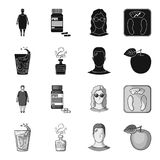 A glass of water, a bottle of alcohol, a sweating man, an apple. Diabeth set collection icons in black,monochrome style. Vector symbol stock illustration Royalty Free Stock Photography