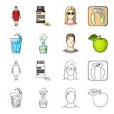 A glass of water, a bottle of alcohol, a sweating man, an apple. Diabeth set collection icons in cartoon,outline style. Vector symbol stock illustration Stock Image