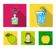 A glass of water, a bottle of alcohol, a sweating man, an apple. Diabeth set collection icons in flat style vector. Symbol stock illustration Stock Photo