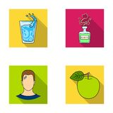A glass of water, a bottle of alcohol, a sweating man, an apple. Diabeth set collection icons in flat style vector. Symbol stock illustration Royalty Free Stock Photos