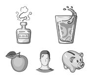 A glass of water, a bottle of alcohol, a sweating man, an apple. Diabeth set collection icons in monochrome style vector. Symbol stock illustration Stock Images