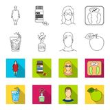 A glass of water, a bottle of alcohol, a sweating man, an apple. Diabeth set collection icons in outline,flet style. Vector symbol stock illustration Stock Photos