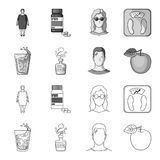 A glass of water, a bottle of alcohol, a sweating man, an apple. Diabeth set collection icons in outline,monochrome. Style vector symbol stock illustration Stock Photos