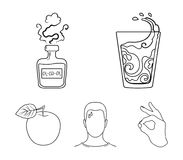 A glass of water, a bottle of alcohol, a sweating man, an apple. Diabeth set collection icons in outline style vector. Symbol stock illustration Royalty Free Stock Photo