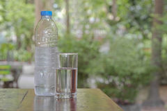 Glass of water and bottle. Royalty Free Stock Photography