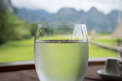 Glass of water. Close up - Half wine glass of mineral water Stock Images
