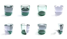 Glass of water concepts. Multiple glasses of water, 3D, computer generated render. Possible concepts for pessimistic, half empty, or optimistic, half full vector illustration