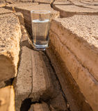 A Glass Of Water In Crack Parched Soil III Stock Image