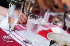 Glass of water  for dining Royalty Free Stock Image
