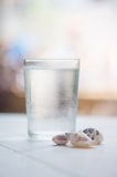 Glass of water with drops and small shells on pool side in tropi Stock Images