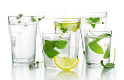 Glass of water and fresh herbs Stock Photography