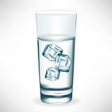 Glass with water and ice Stock Photo