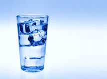 Glass of water with ice cubes Stock Images