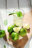 Glass of water with ice and lime Stock Photography
