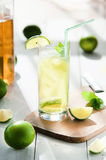 Glass of water with ice and lime Royalty Free Stock Photography